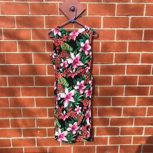 Vesper Tropical Print Midi Bodycon Dress Hawaii